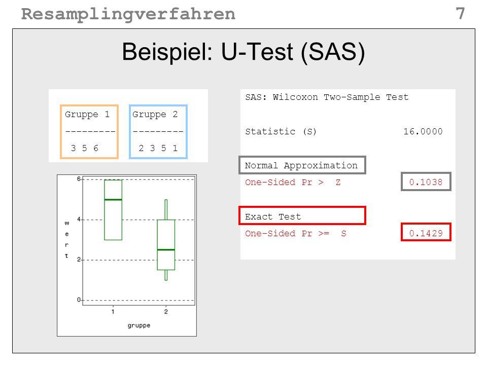 Beispiel: U-Test (SAS)