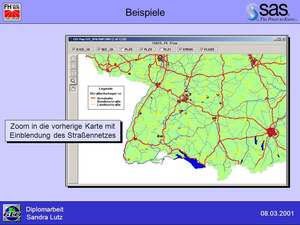Zoom in die vorherige Karte mit Einblendung des Straßennetzes