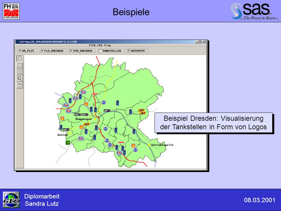 Beispiel Dresden: Visualisierung der Tankstellen in Form von Logos