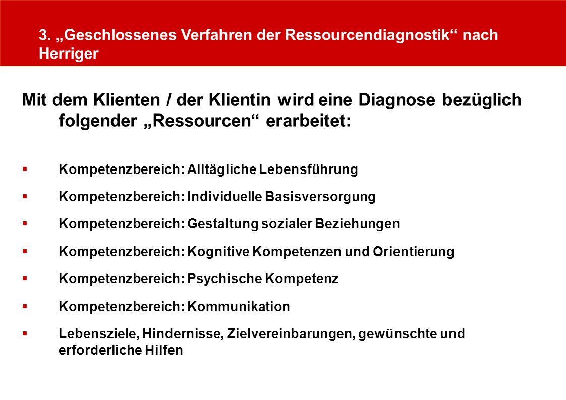 """3. """"Geschlossenes Verfahren der Ressourcendiagnostik nach Herriger"""