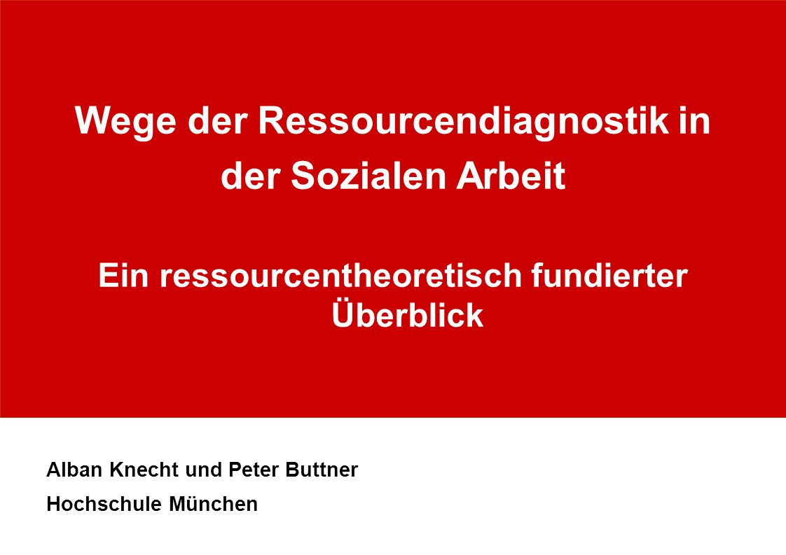 Wege der Ressourcendiagnostik in der Sozialen Arbeit