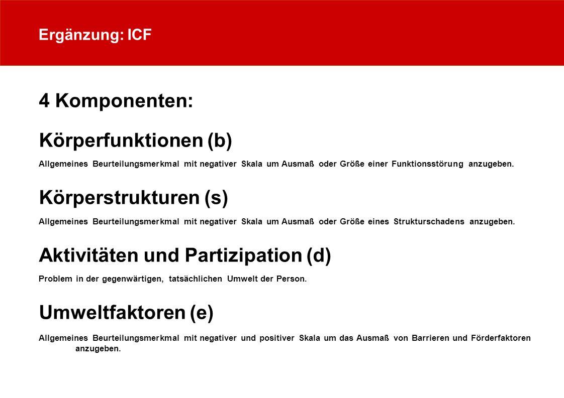 Aktivitäten und Partizipation (d) Umweltfaktoren (e)