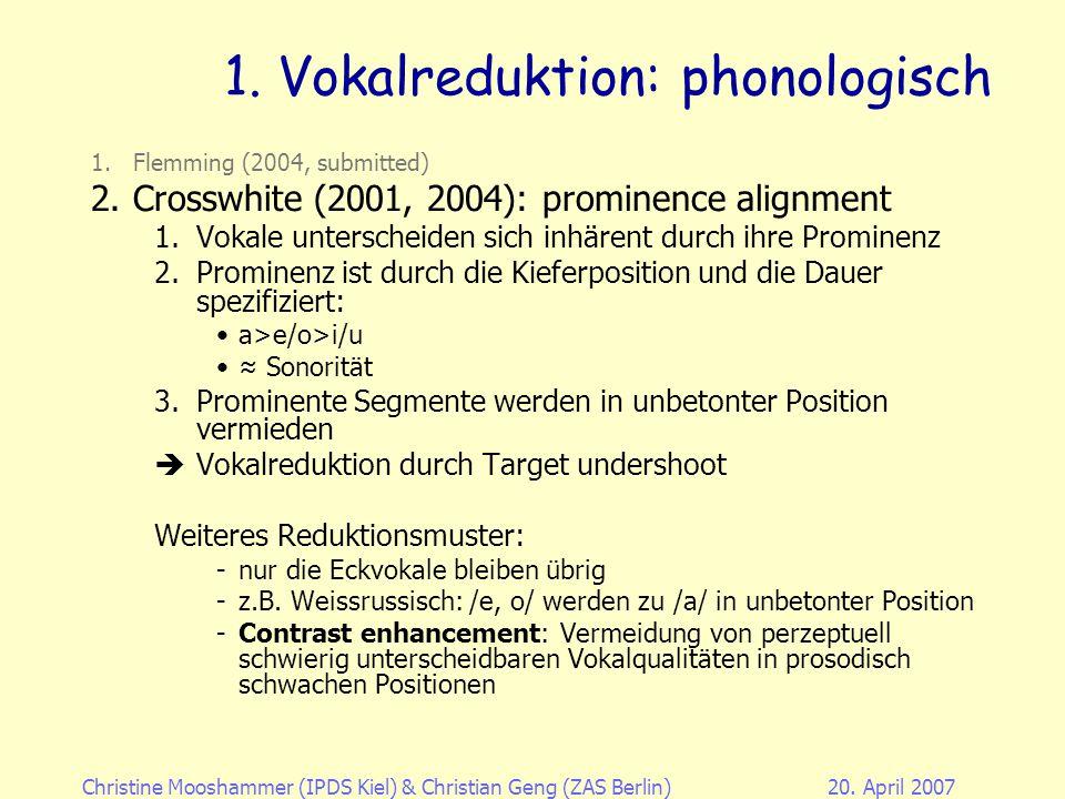 1. Vokalreduktion: phonologisch