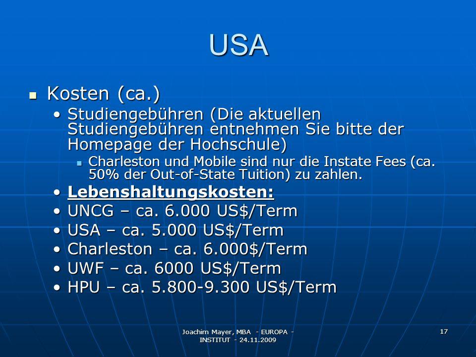 Joachim Mayer, MBA - EUROPA - INSTITUT - 24.11.2009