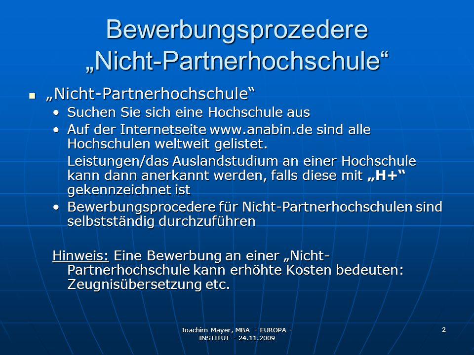"""Bewerbungsprozedere """"Nicht-Partnerhochschule"""