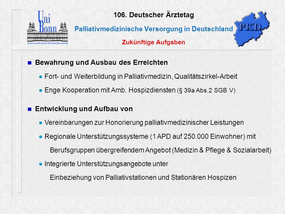 106. Deutscher Ärztetag Palliativmedizinische Versorgung in Deutschland Zukünftige Aufgaben