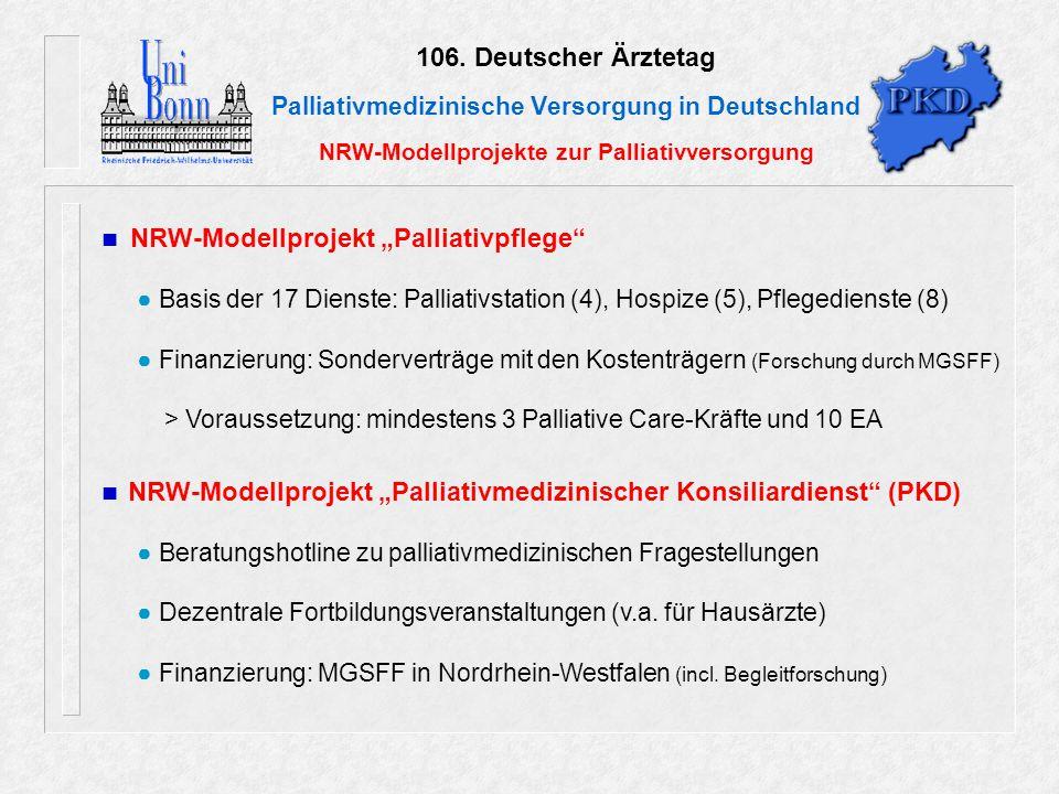 106. Deutscher Ärztetag Palliativmedizinische Versorgung in Deutschland NRW-Modellprojekte zur Palliativversorgung