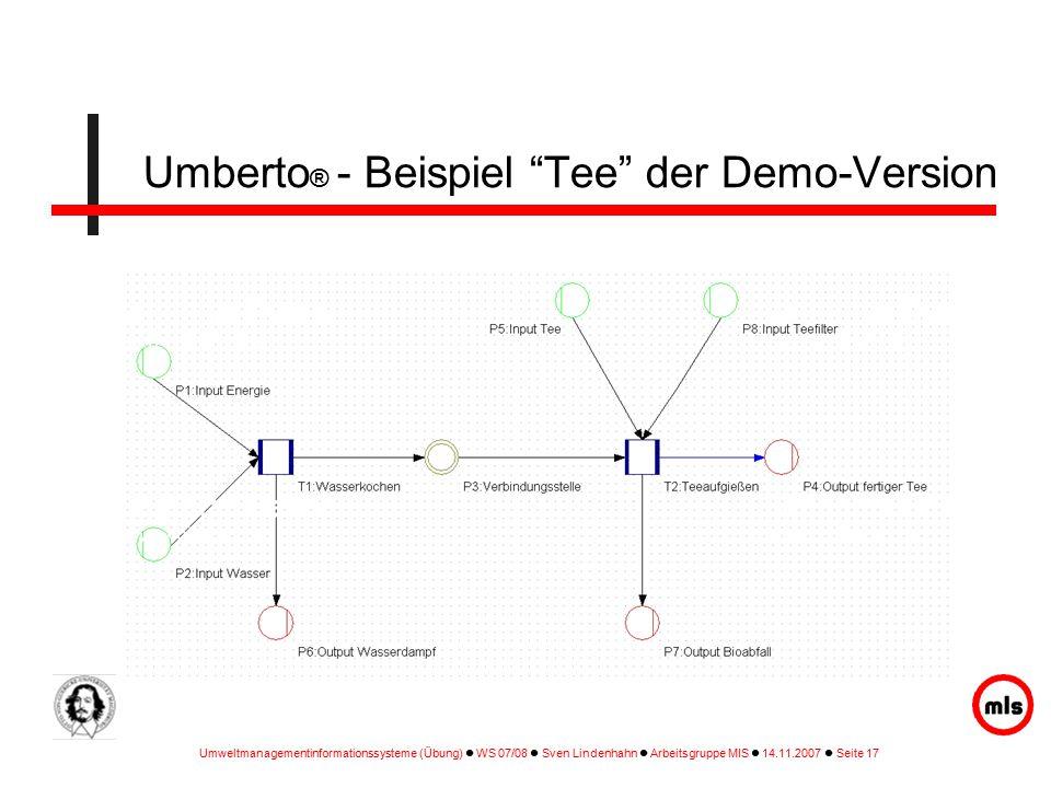 Umberto® - Beispiel Tee der Demo-Version