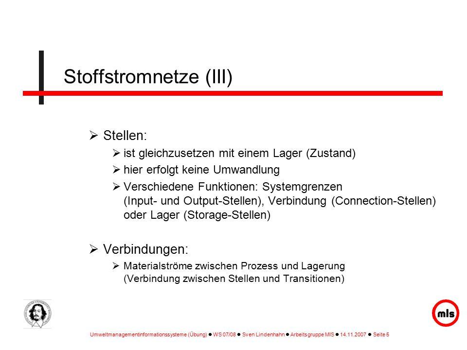 Stoffstromnetze (III)