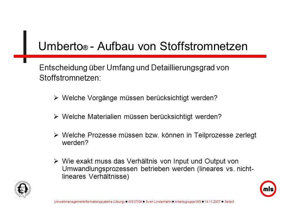 Umberto® - Aufbau von Stoffstromnetzen