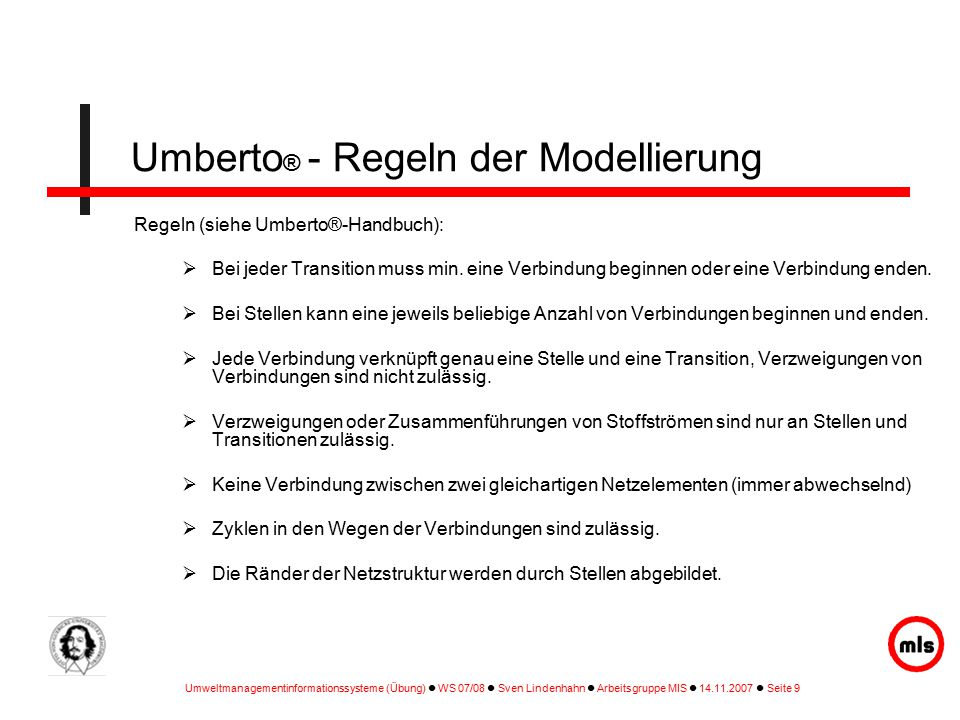Umberto® - Regeln der Modellierung