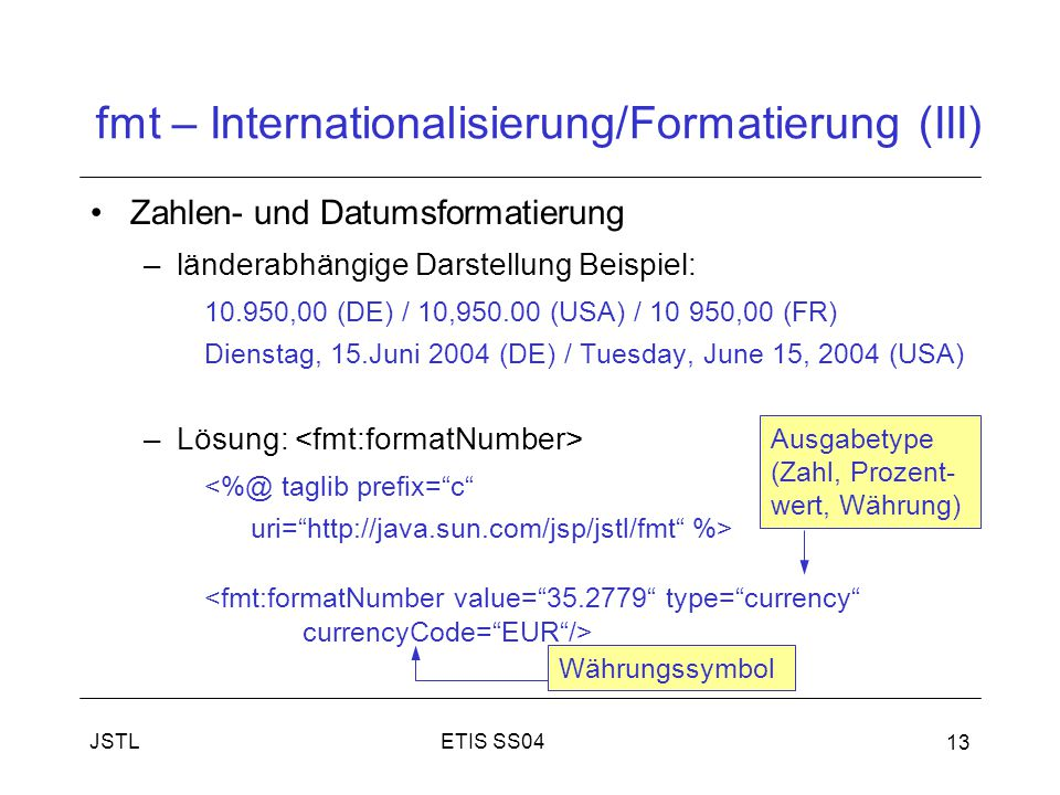 fmt – Internationalisierung/Formatierung (III)