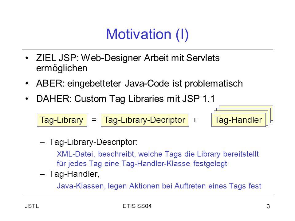 Motivation (I) ZIEL JSP: Web-Designer Arbeit mit Servlets ermöglichen
