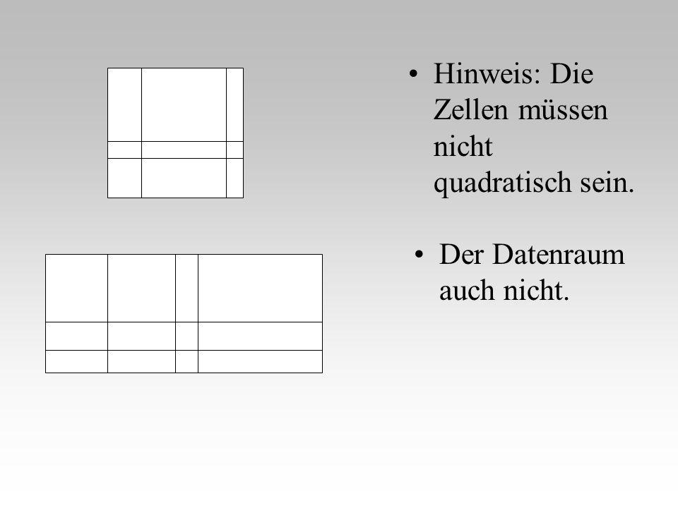 Hinweis: Die Zellen müssen nicht quadratisch sein.