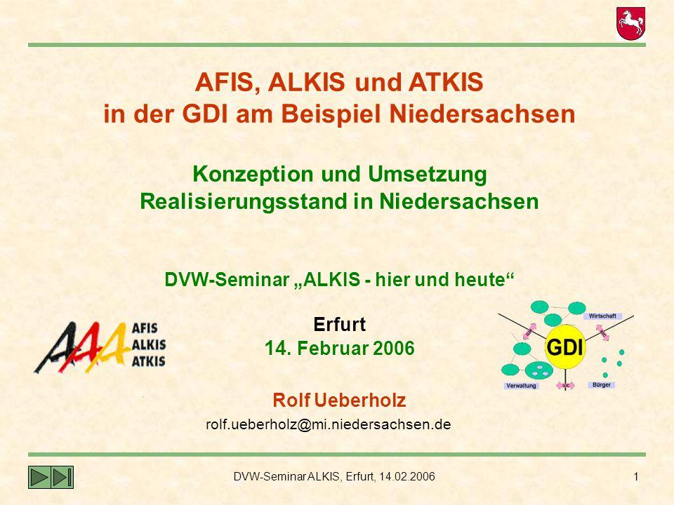 """AFIS, ALKIS und ATKIS in der GDI am Beispiel Niedersachsen Konzeption und Umsetzung Realisierungsstand in Niedersachsen DVW-Seminar """"ALKIS - hier und heute Erfurt 14. Februar 2006"""