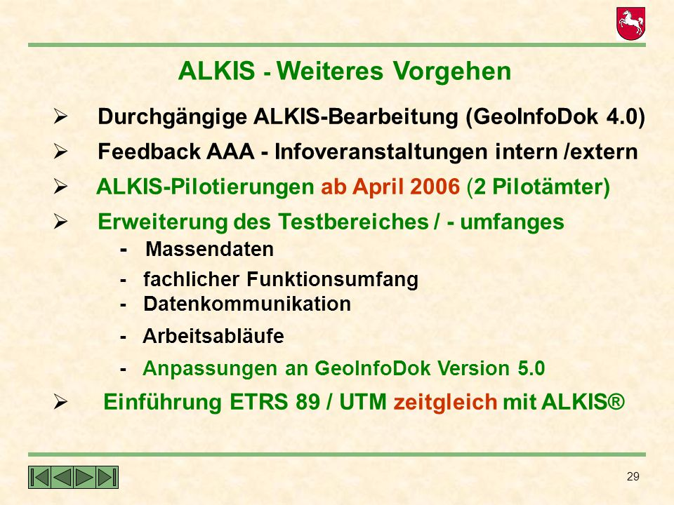 ALKIS - Weiteres Vorgehen