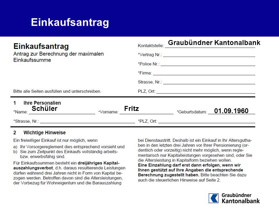 Einkaufsantrag Graubündner Kantonalbank Schüler Fritz 01.09.1960