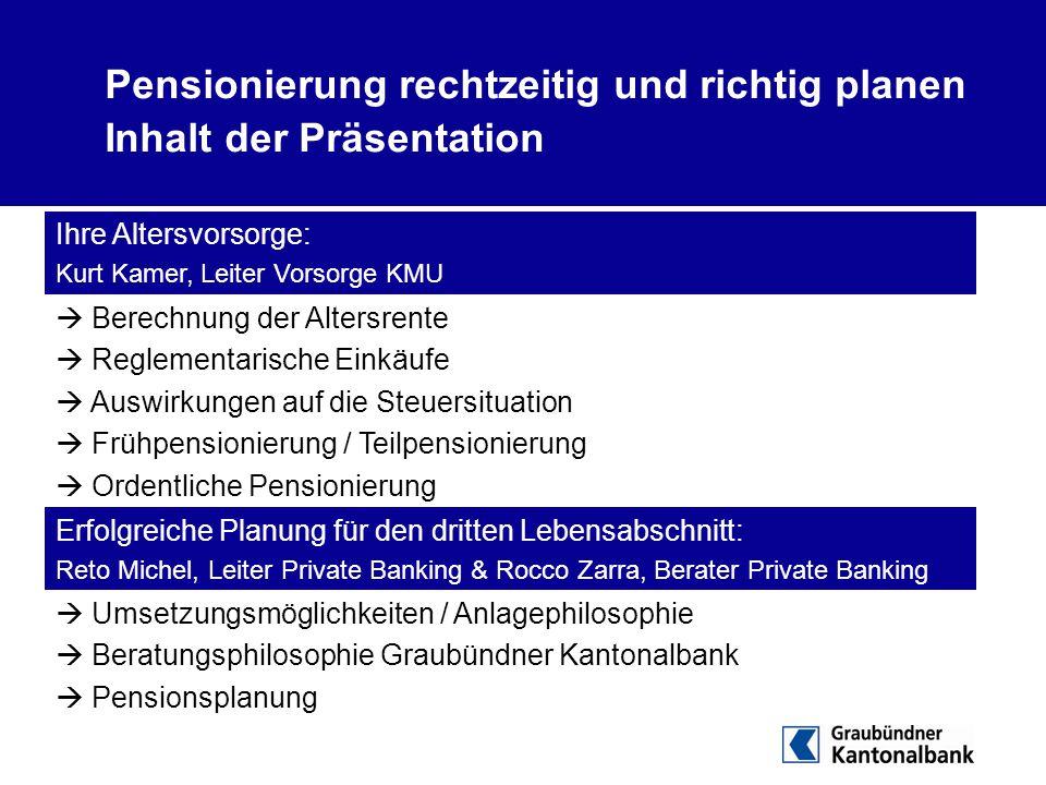 Pensionierung rechtzeitig und richtig planen Inhalt der Präsentation