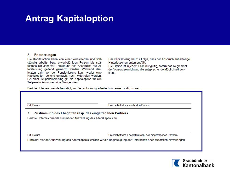 Antrag Kapitaloption