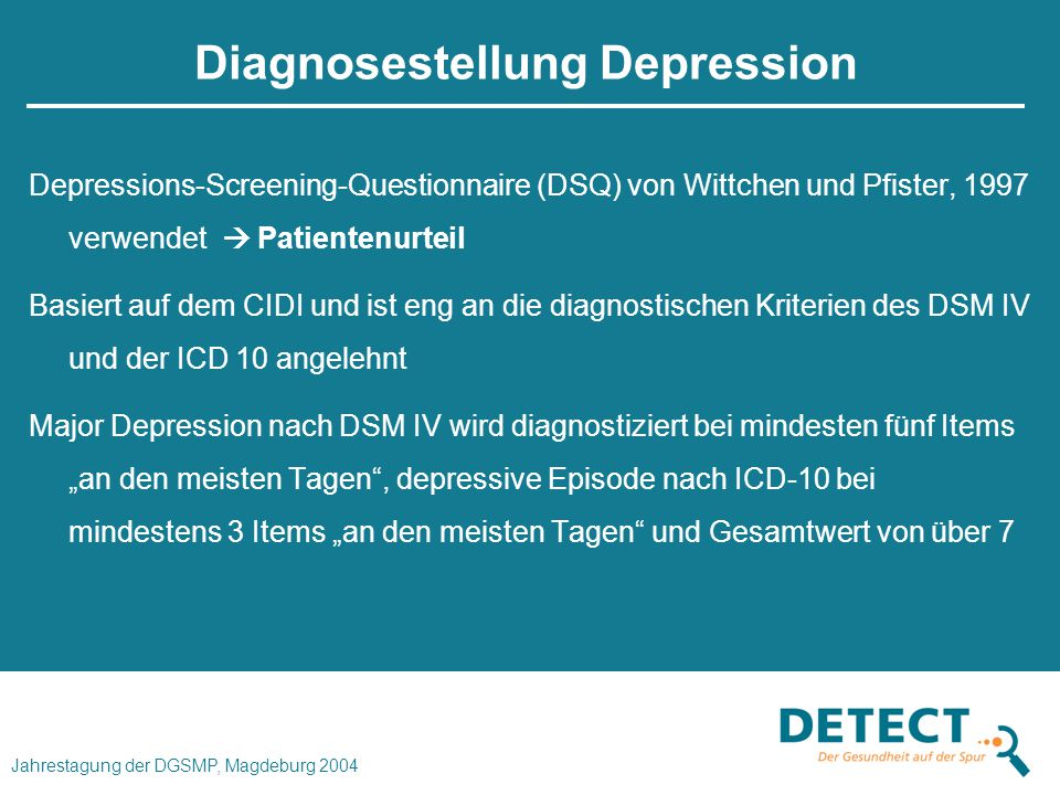 Diagnosestellung Depression