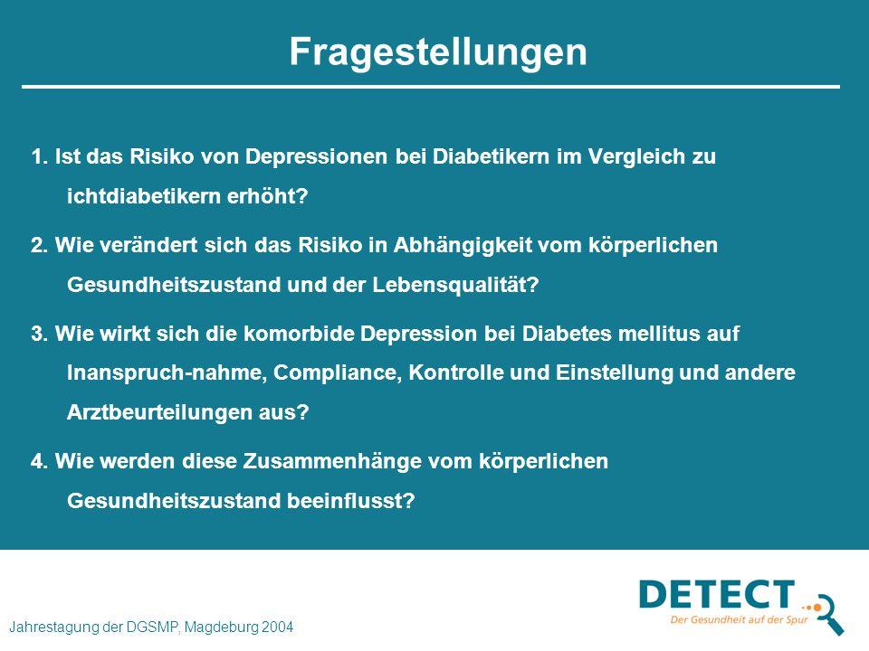Fragestellungen 1. Ist das Risiko von Depressionen bei Diabetikern im Vergleich zu ichtdiabetikern erhöht