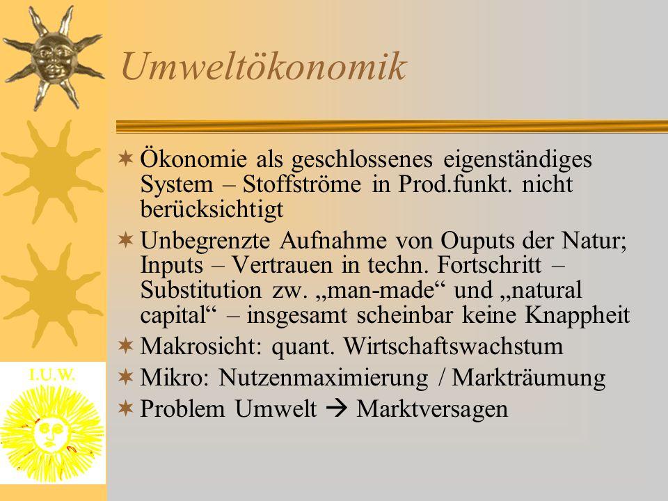 Umweltökonomik Ökonomie als geschlossenes eigenständiges System – Stoffströme in Prod.funkt. nicht berücksichtigt.