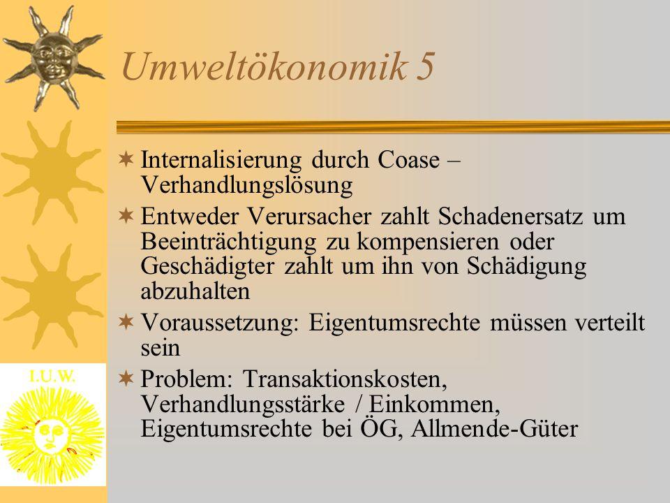 Umweltökonomik 5 Internalisierung durch Coase – Verhandlungslösung