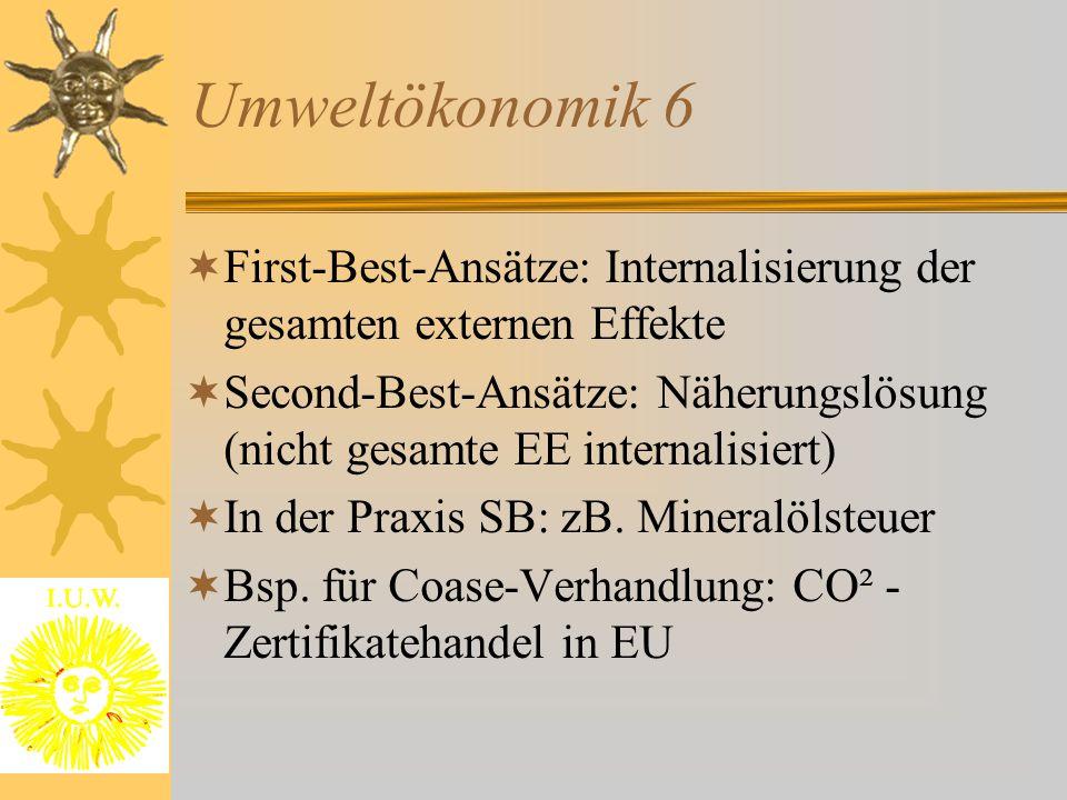 Umweltökonomik 6 First-Best-Ansätze: Internalisierung der gesamten externen Effekte.