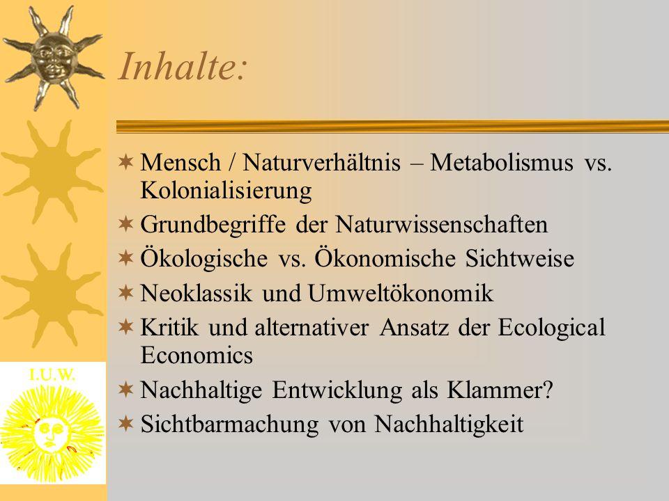 Inhalte: Mensch / Naturverhältnis – Metabolismus vs. Kolonialisierung