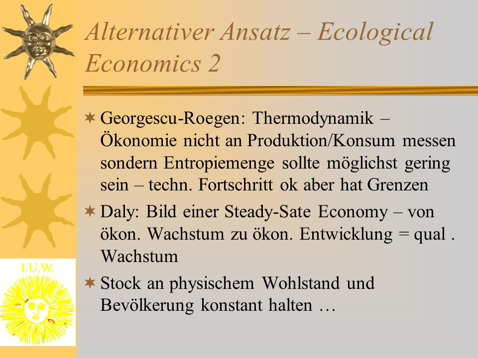 Alternativer Ansatz – Ecological Economics 2