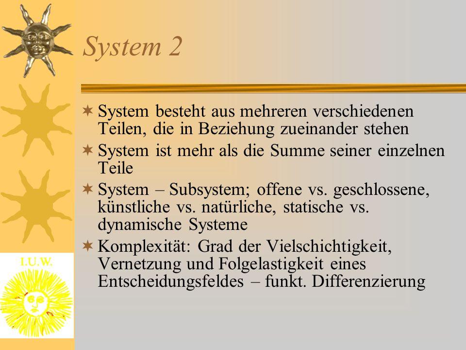 System 2 System besteht aus mehreren verschiedenen Teilen, die in Beziehung zueinander stehen. System ist mehr als die Summe seiner einzelnen Teile.