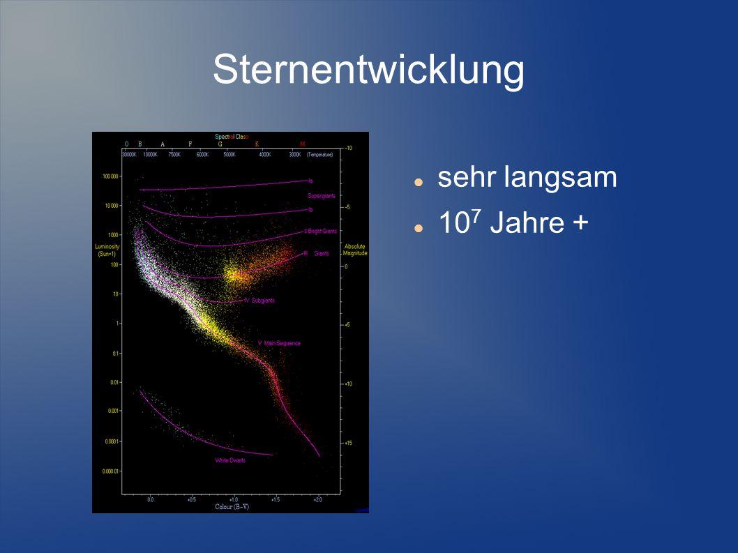 Sternentwicklung sehr langsam 107 Jahre +