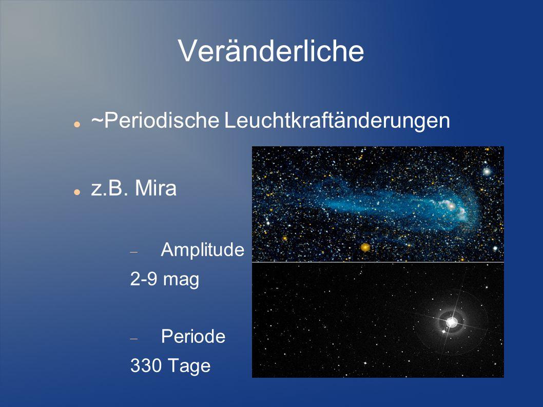 Veränderliche ~Periodische Leuchtkraftänderungen z.B. Mira Amplitude
