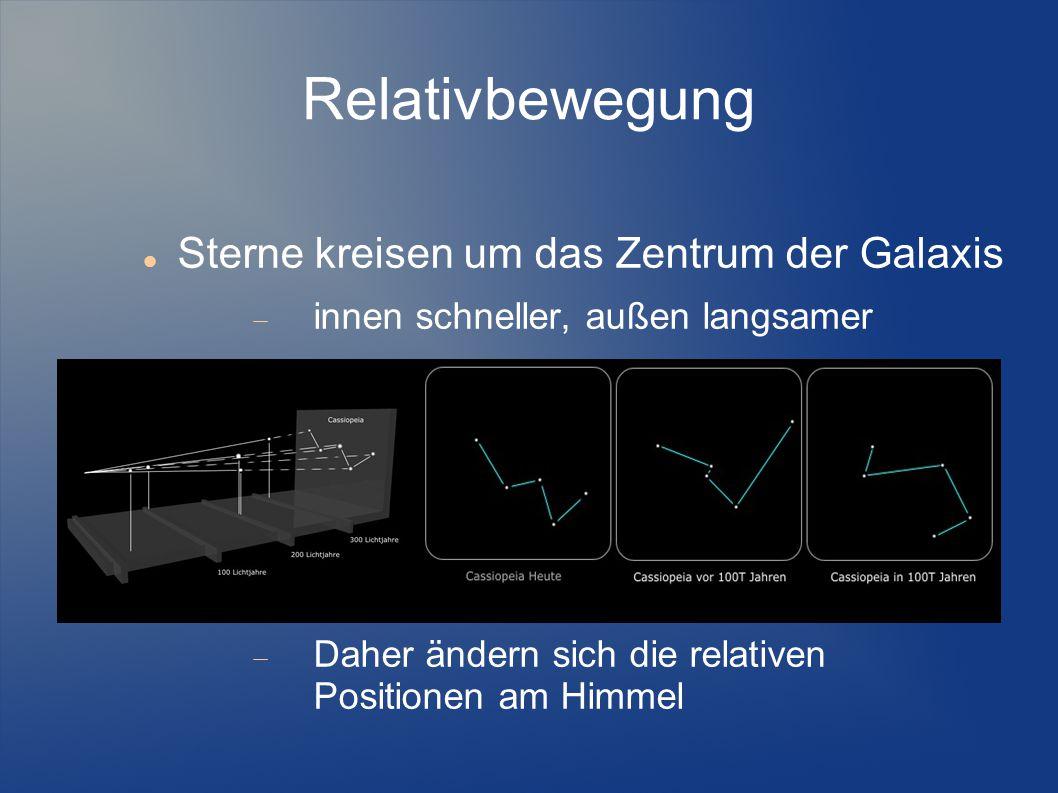 Relativbewegung Sterne kreisen um das Zentrum der Galaxis