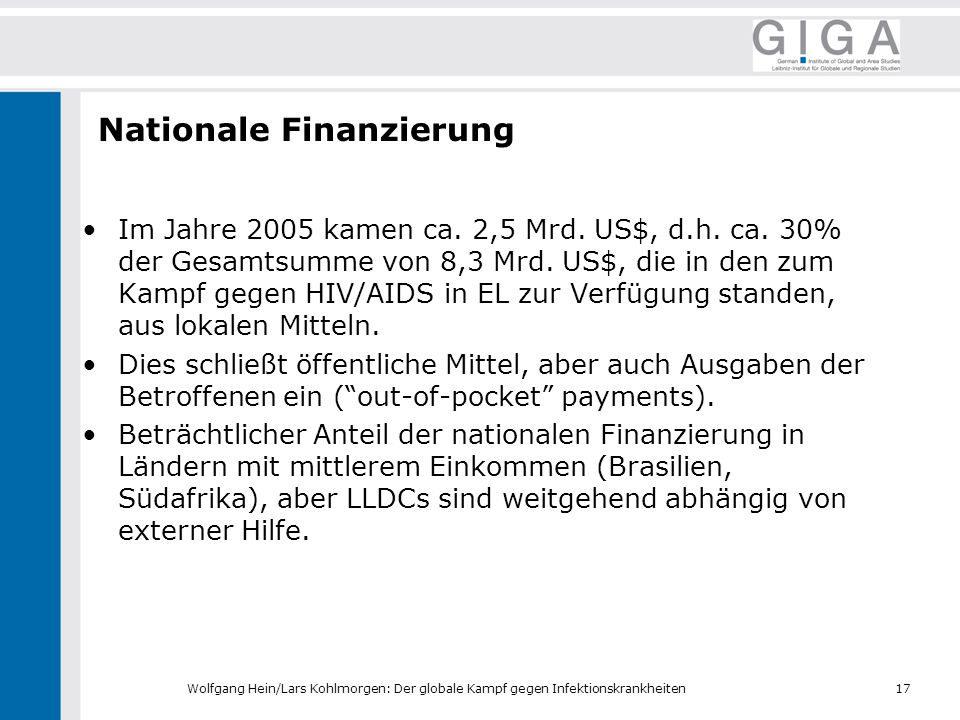 Nationale Finanzierung