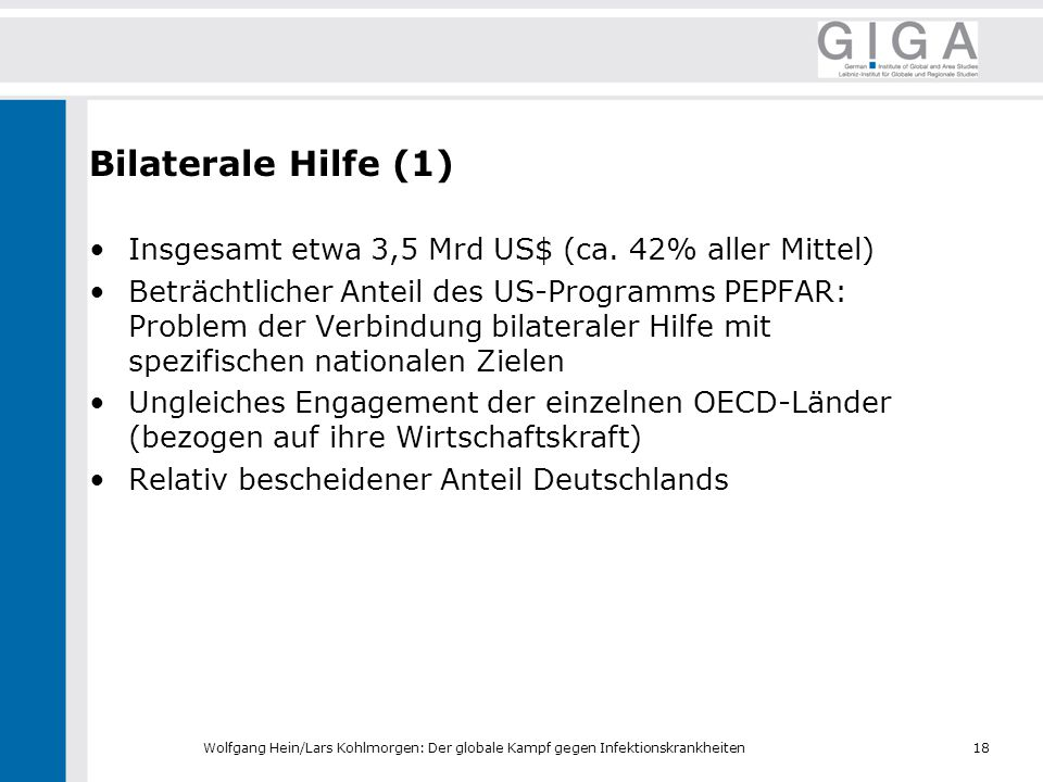 Bilaterale Hilfe (1) Insgesamt etwa 3,5 Mrd US$ (ca. 42% aller Mittel)