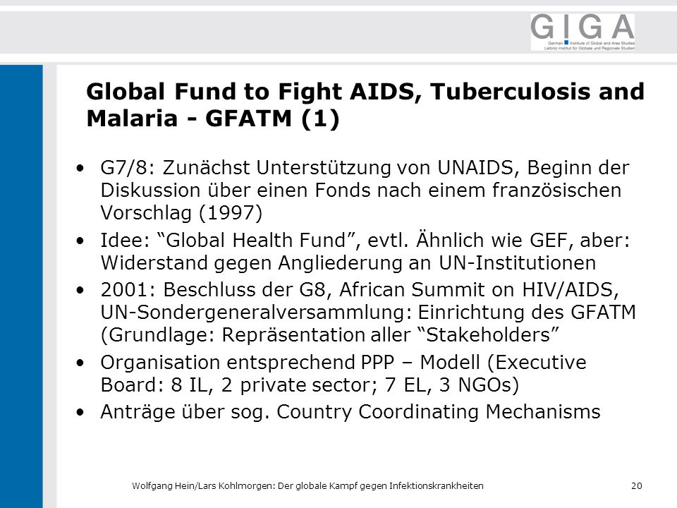 Global Fund to Fight AIDS, Tuberculosis and Malaria - GFATM (1)