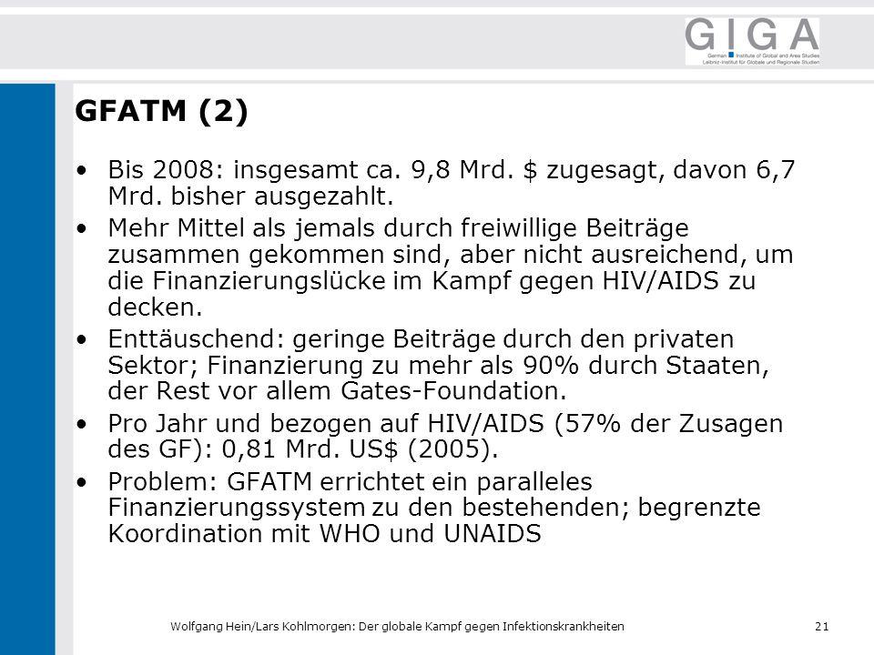 GFATM (2) Bis 2008: insgesamt ca. 9,8 Mrd. $ zugesagt, davon 6,7 Mrd. bisher ausgezahlt.