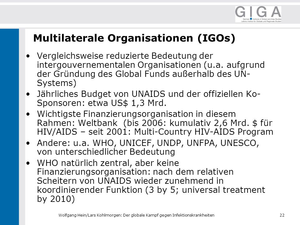 Multilaterale Organisationen (IGOs)