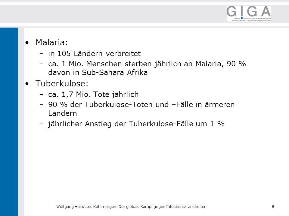 Malaria: Tuberkulose: in 105 Ländern verbreitet