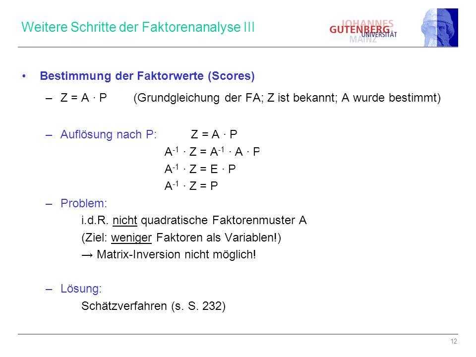 Weitere Schritte der Faktorenanalyse III