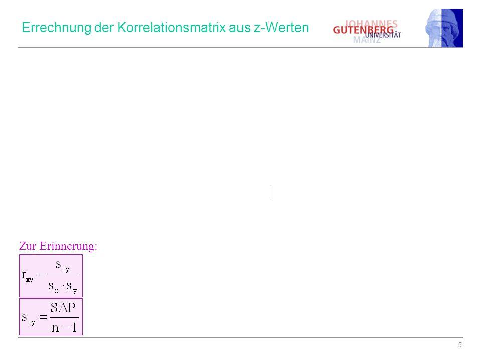 Errechnung der Korrelationsmatrix aus z-Werten