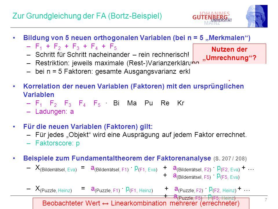 Zur Grundgleichung der FA (Bortz-Beispiel)