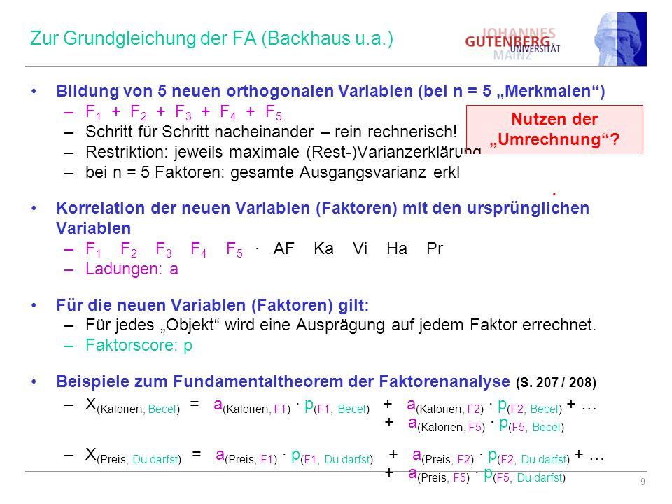 Zur Grundgleichung der FA (Backhaus u.a.)