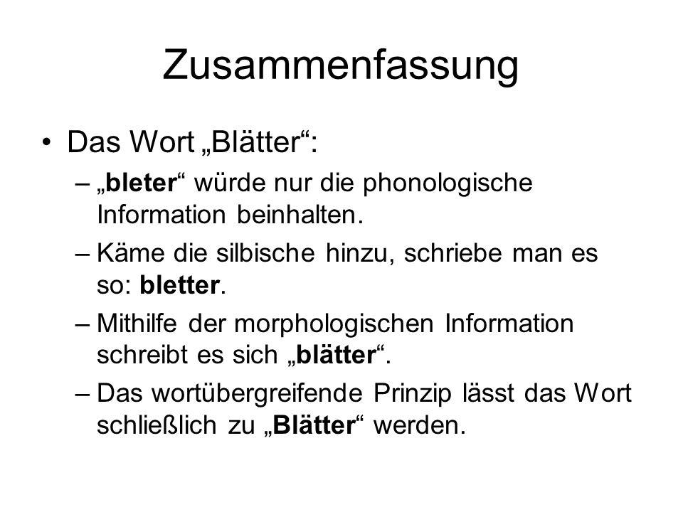 """Zusammenfassung Das Wort """"Blätter :"""