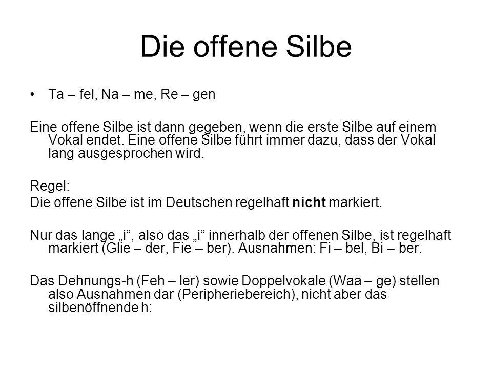 Die offene Silbe Ta – fel, Na – me, Re – gen