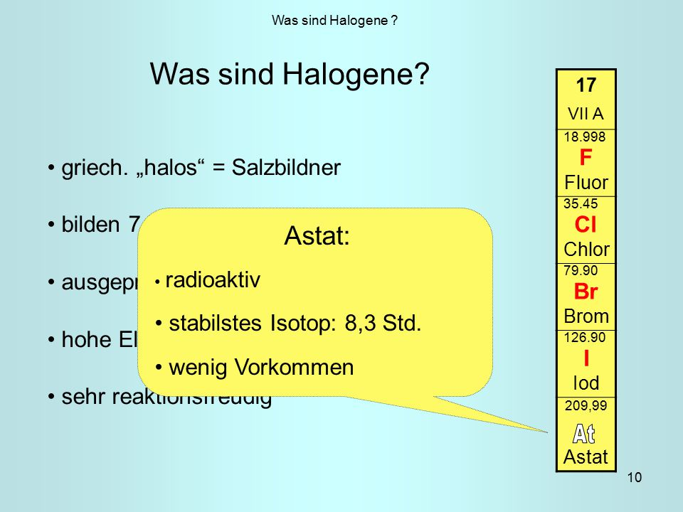 "At Was sind Halogene Astat: F Cl griech. ""halos = Salzbildner Br"