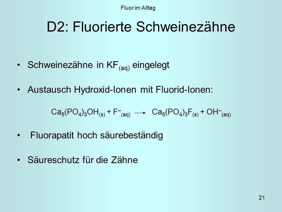 D2: Fluorierte Schweinezähne