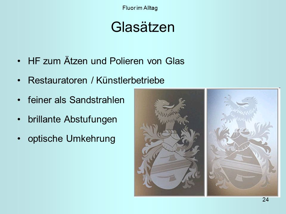 Glasätzen HF zum Ätzen und Polieren von Glas