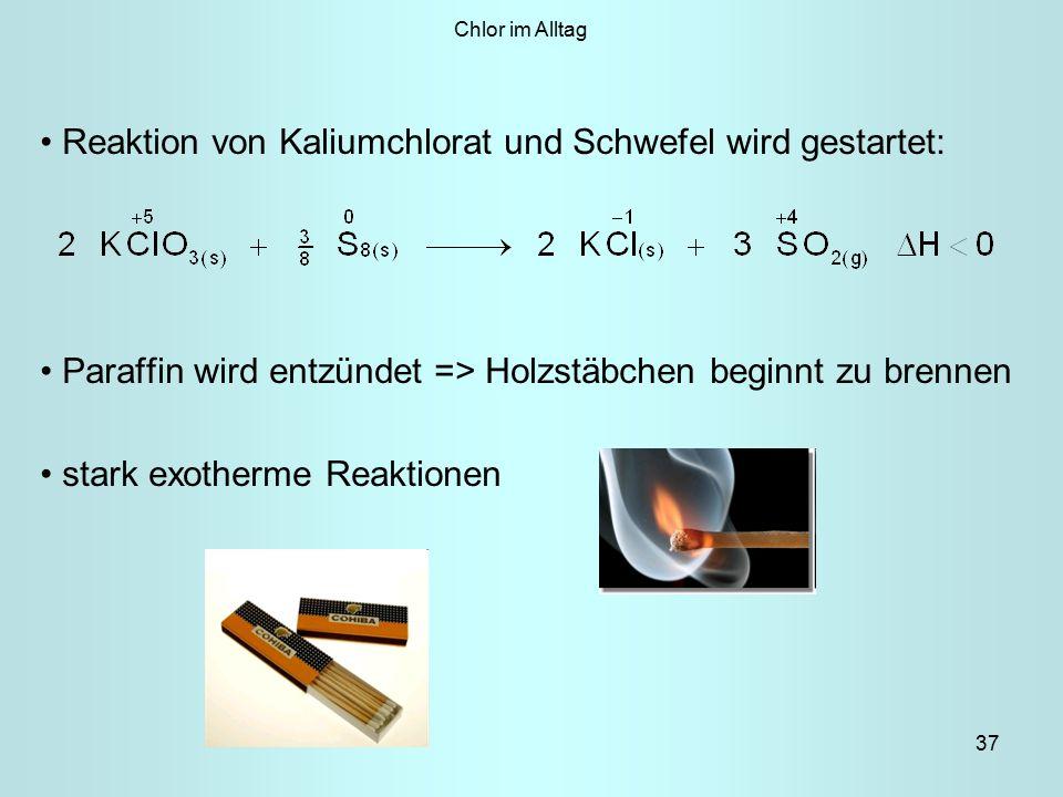 Reaktion von Kaliumchlorat und Schwefel wird gestartet: